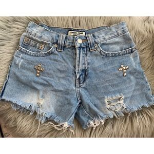 Pants - Distressed Shorts with Cross Studs